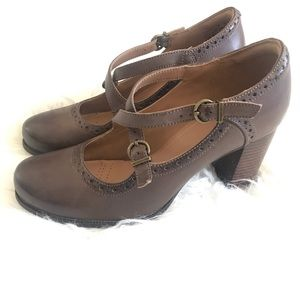 Clarks Artisan brown leather heeled Mary Janes